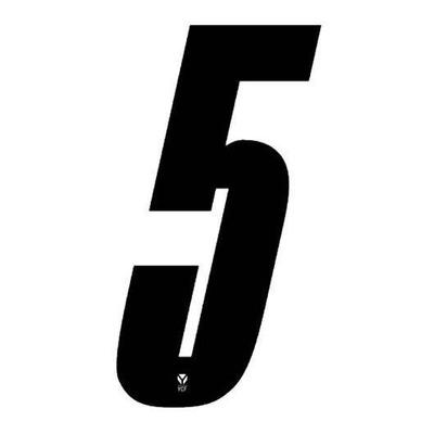 Numéro 5 YCF hauteur 8 cm noir (3 pièces)