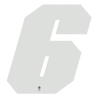 Numéro 6 YCF hauteur 11 cm blanc (3 pièces)