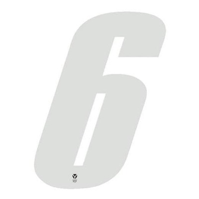Numéro 6 YCF hauteur 8 cm blanc (3 pièces)