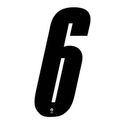 Numéro 6 YCF hauteur 8 cm noir (3 pièces)
