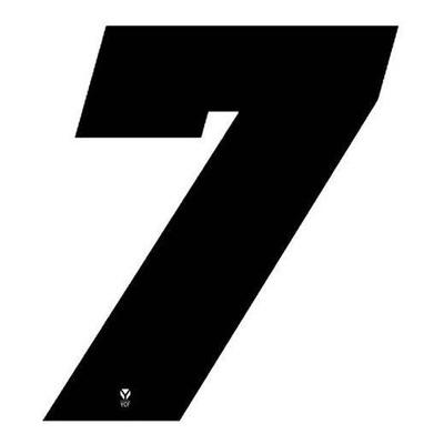 Numéro 7 YCF hauteur 11 cm noir (3 pièces)