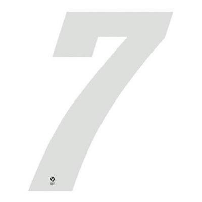 Numéro 7 YCF hauteur 8 cm blanc (3 pièces)