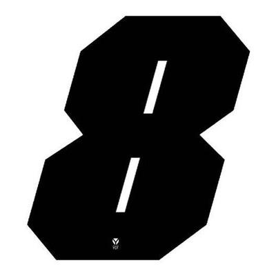 Numéro 8 YCF hauteur 11 cm noir (3 pièces)