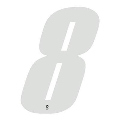 Numéro 8 YCF hauteur 8 cm blanc (3 pièces)