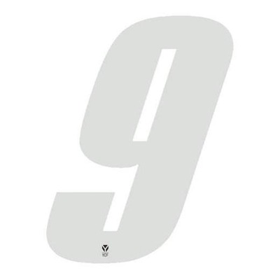 Numéro 9 YCF hauteur 8 cm blanc (3 pièces)