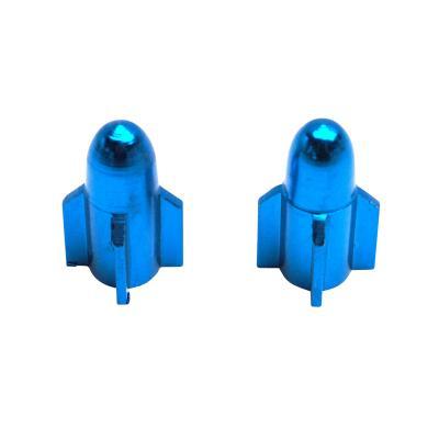 Paire de bouchons de valve rocket alu bleu