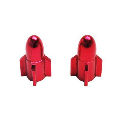 Paire de bouchons de valve rocket alu rouge