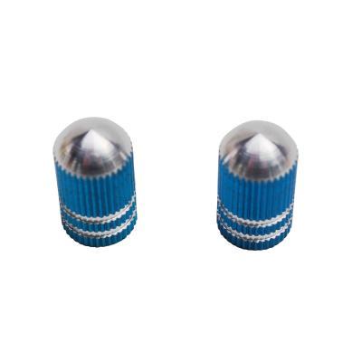 Paire de bouchons de valve Vicma obus rainure bleu