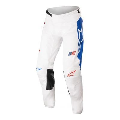 Pantalon cross Alpinestars Racer Compass off blanc/rouge fluo/bleu