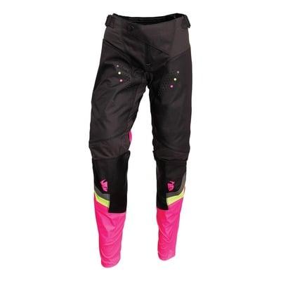 Pantalon cross femme Thor Pulse Rev charcoal/rose fluo