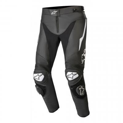 Pantalon cuir Alpinestars Track V2 noir/blanc