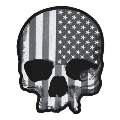 Patch Lethal Threat Tête de mort drapeau USA gris