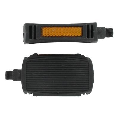 Pédales en plastiques noire 14x125 avec catadioptres pour Peugeot 103