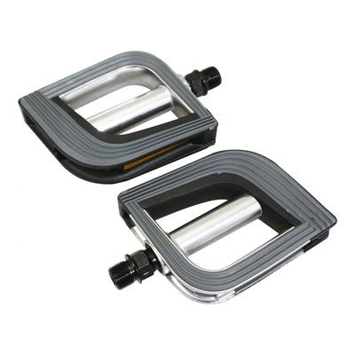 Pédales plates Marwi SP825 aluminium 9/16'' noir/argent