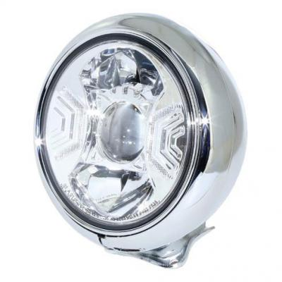 Phare LED Highsider HD-Style type 2 fixation inférieure chromé