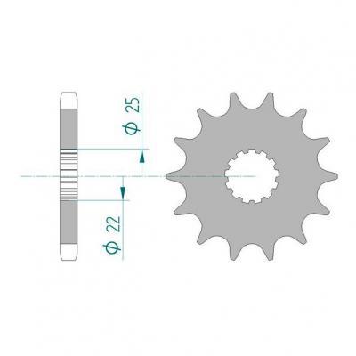Pignon Afam 14 dents acier pas 530 type 28400 Suzuki GSX-R 1100 86-98
