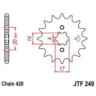 Pignon JT Sprockets Acier pas 420 14 dents - Pour Kawasaki KLX 110 02-09