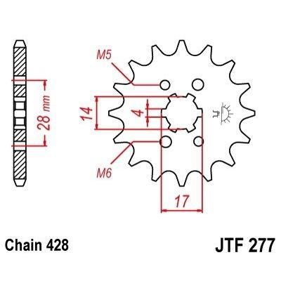 Pignon JT Sprockets Acier pas 428 13 dents - Pour Aprilia 125 RS4 11-16