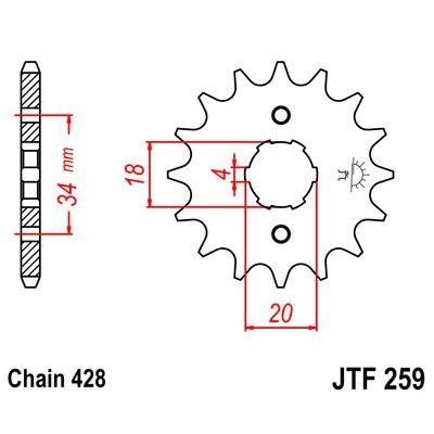 Pignon JT Sprockets Acier pas 428 14 dents - Pour Daelim VC 125 Roadwin 04-16