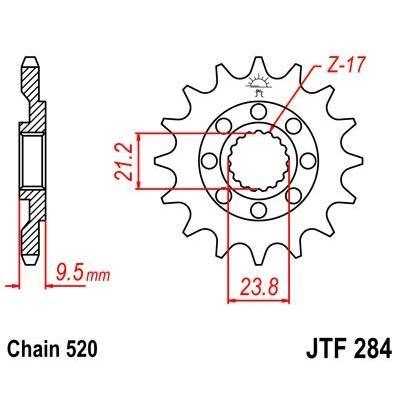 Pignon JT Sprockets Acier pas 520 14 dents - Pour Honda CR 500 R 88-01 Anti-boue