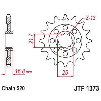 Pignon JT Sprockets JTF1373 Acier pas 520 17 dents Honda X-ADV 750 17-19