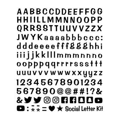 Planche autocollants lettres et réseaux sociaux 20x24 cm