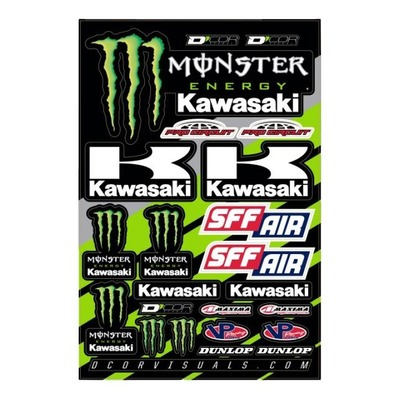 Planche d'autocollants D'cor 16 Team Monster Kawasaki