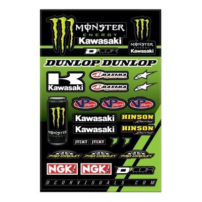 Planche d'autocollants D'cor 17 Team Monster Kawasaki
