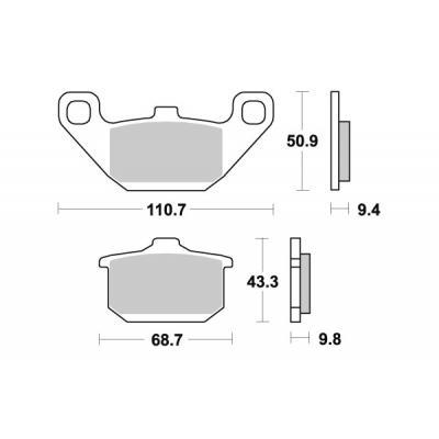 Plaquettes de frein SBS métal fritté 557LS