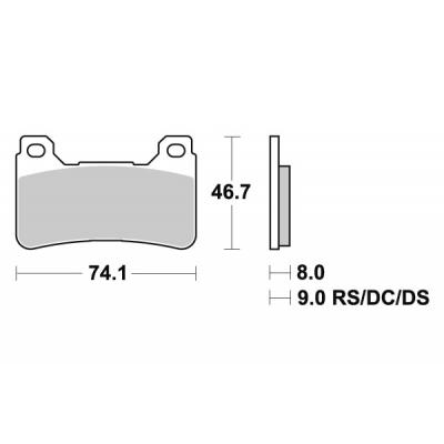 Plaquettes de frein SBS métal fritté 809RS