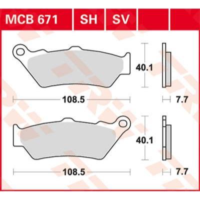 Plaquettes de frein TRW metal fritté MCB671SH