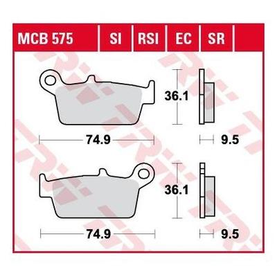 Plaquettes de frein TRW organique MCB575EC