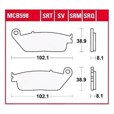 Plaquettes de frein TRW organique MCB598