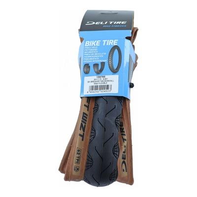 "Pneu vélo City/VTC/VTT Deli renforcé anti-crevaison 1,3mm Slick TS noir marron (29 x 1.75"") 700x47"
