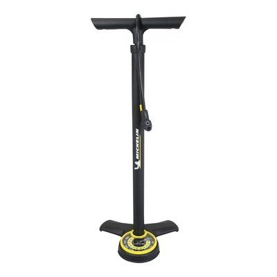 Pompe à pied Michelin jaune/noir (avec manomètre 11 bars)