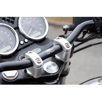 Pontets de guidon LSL rehausse +17 mm Ø28 Moto Guzzi V7 750 Cafe Racer 09-12