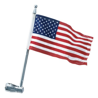 Porte drapeau inclinable Kuryakyn chrome + drapeau américain