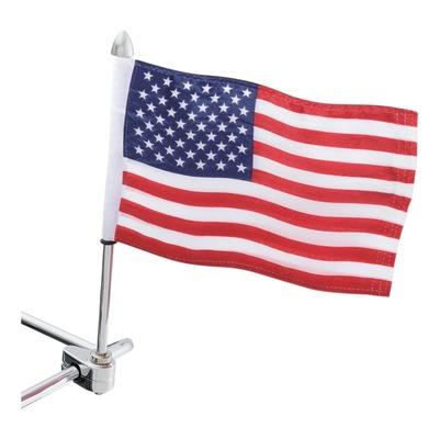 Porte drapeau Show chrome + drapeau américain