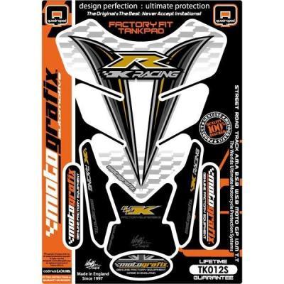 Protection de réservoir Motografix blanc/noir/or Kawasaki 4 pièces