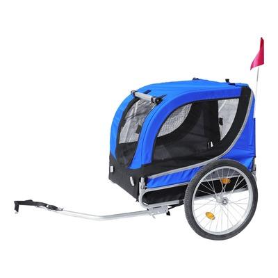 Remorque vélo utilitaire pliable pour chiens bleue