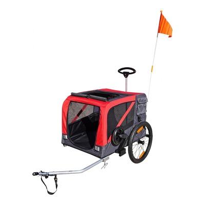 Remorque vélo utilitaire pour chiens rouge