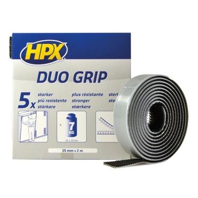 Ruban adhésif à crochets Duo Grip noir 25mm x 2m