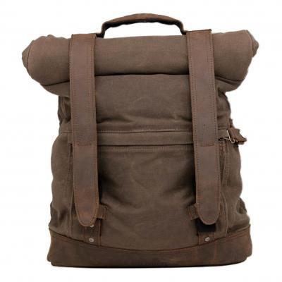 Sac à dos backpack en toile rouleau Burly Brand kaki