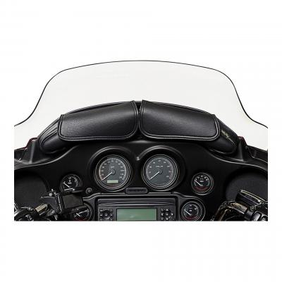 Sacoche de pare-brise Willie & Max cuir synthétique noir fermeture rabat 2 poches