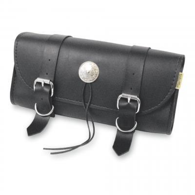 Sacoche outils Willie & Max noir finition doubles boucles et concho chrome lacets cuir synthétique