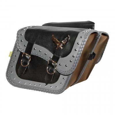 Sacoches latérales Willie & Max cuir synthétique noir gris clouté bordure tressé double boucles