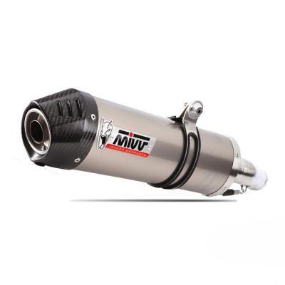 Silencieux double MIVV Oval titane / casquette carbone Honda XL1000V Varadero 03-