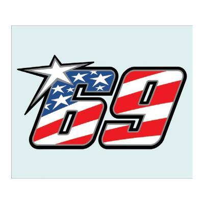 Stickers Nicky Hayden 69 bleu/blanc/rouge