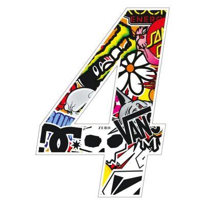 Stickers T4 Tune Numéro 4 10 cm