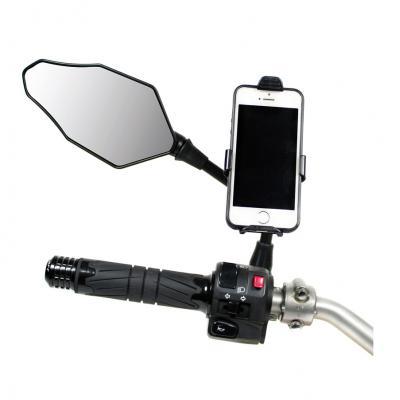 Support smartphone avec fixation à la tige du rétroviseur